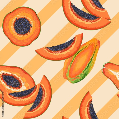 Foto op Plexiglas Draw Papaya Party Vector Seamless Pattern Textile Design
