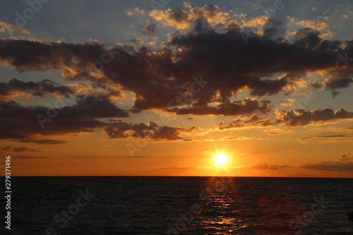 sunset over the lake Erie beach