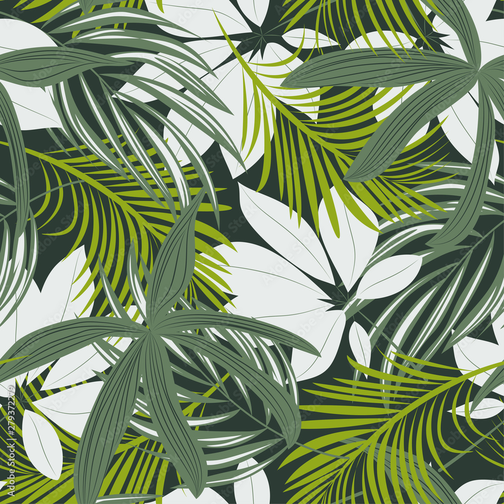 Trending abstract seamless pattern with colorful tropical leaves and plants on green background. Vector design. Jungle print. Floral background. Printing and textiles. Exotic tropics. Fresh design.