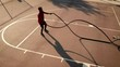 Aerial shot of a man working out with battle ropes