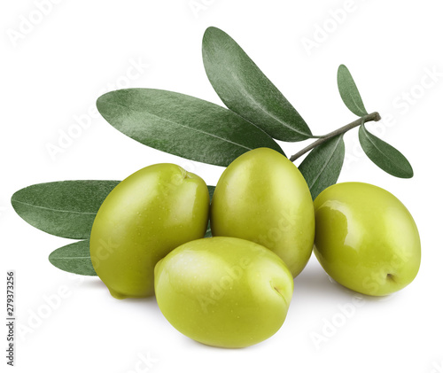 Delicious green olives with leaves, isolated on white background - 279373256