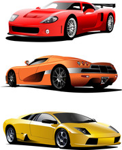 Three Sport  Cars On The Road. Vector Illustration