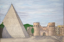 Ancient Fortress Two Watchtowers Pyramid Of White Stone. Watercolor Painting.