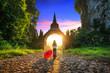 Leinwanddruck Bild - Woman standing at Khao Na Nai Luang Dharma Park in Surat Thani, Thailand