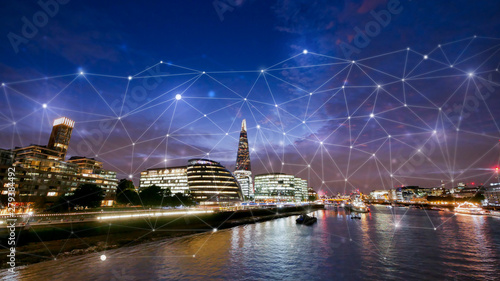 Poster London London office building for network and future concept