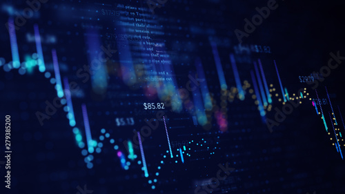 Obraz 3D illustration of fnancial business chart with diagrams and stock numbers showing profits and losses over time dynamically - fototapety do salonu