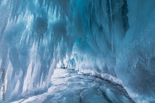Fotografiet Fabulous ice cave on lake Baikal. Eastern Siberia, Russia