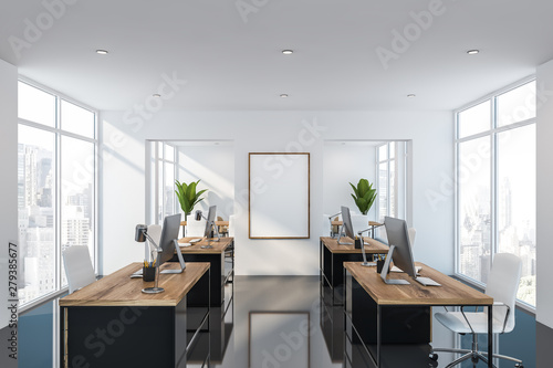 White open space office with poster