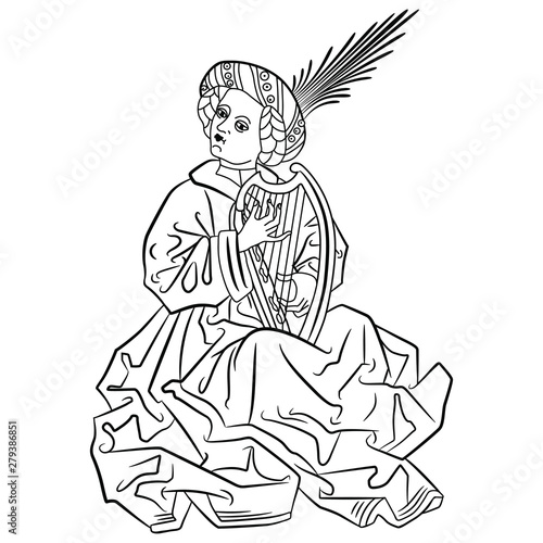 Medieval young man playing the harp. Black and white silhouette. Wallpaper Mural