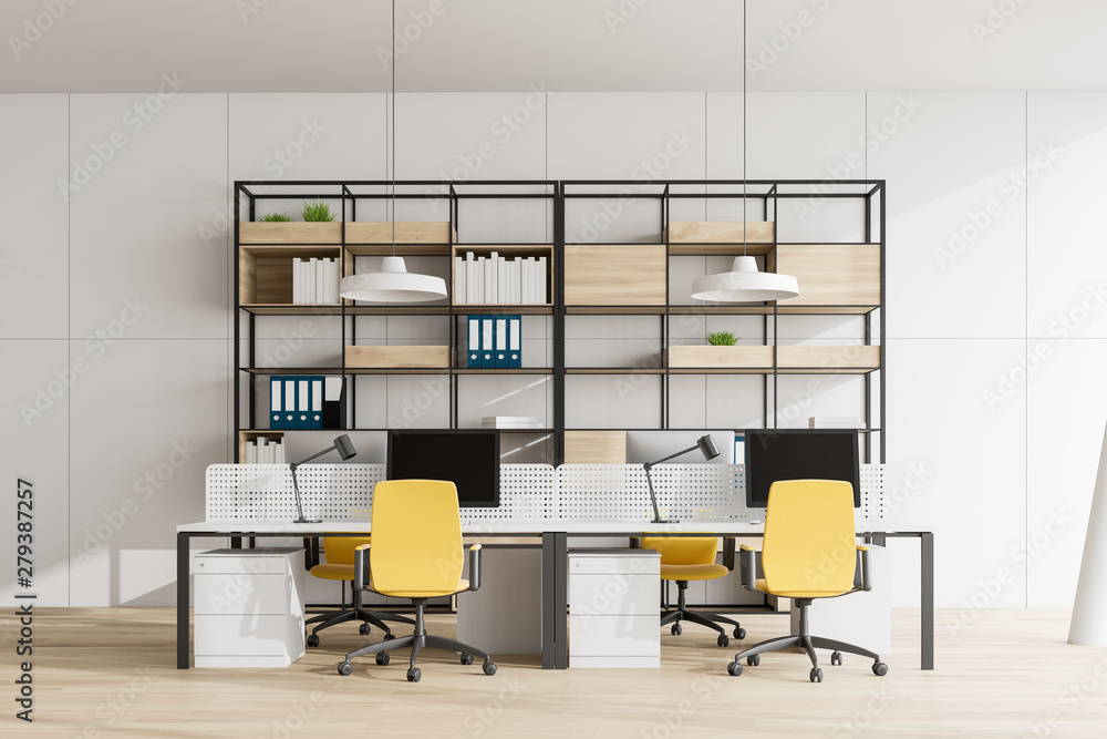 Fototapeta White open space office with bookcase