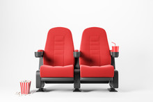 Two Red Cinema Chairs On White Background