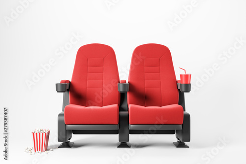 Vászonkép Two red cinema chairs on white background