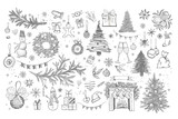 Fototapeta Londyn - Christmas pattern in sketch style. Hand drawn illustration.