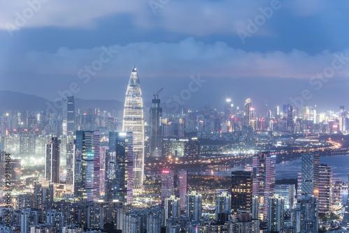 Keuken foto achterwand Amerikaanse Plekken Shenzhen, China, Guangdong Houhai City skyline night view