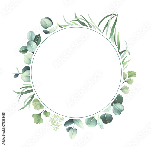 Round watercolor frame with leaves isolated on white background. Fototapete