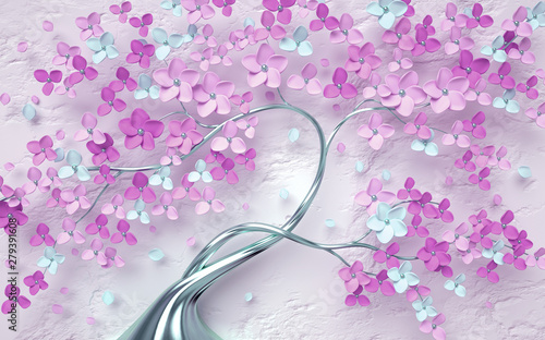 Obraz 3d mural tree flower rose background vintage wallpaper purple branch - fototapety do salonu