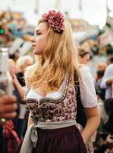 Young Blond Beautiful Woman In Oktoberfest Dress