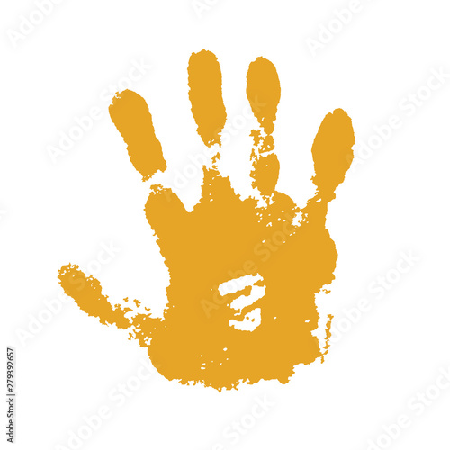 Fototapety, obrazy: Hand paint print, isolated white background. Yellow human palm and fingers. Abstract art design, symbol identity people. Silhouette child, kid, people handprint. Grunge texture. Vector illustration