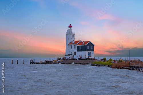 Canvas Prints Horses Traditional lighthouse 'Het Paard van Marken' in Marken the Netherlands