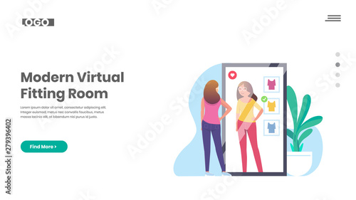 Virtual Fitting Room, Smart mirror, Shopping Fotobehang