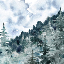 Watercolor Winter Misty Forest...