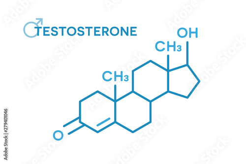 Photo Testosterone hormones molecular formula. Sex hormone symbol