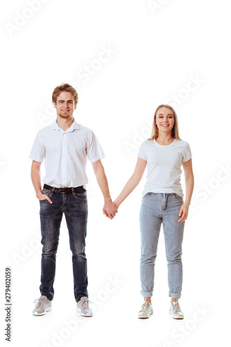 Printed kitchen splashbacks Artist KB Beautiful young couple in casual clothing flirting