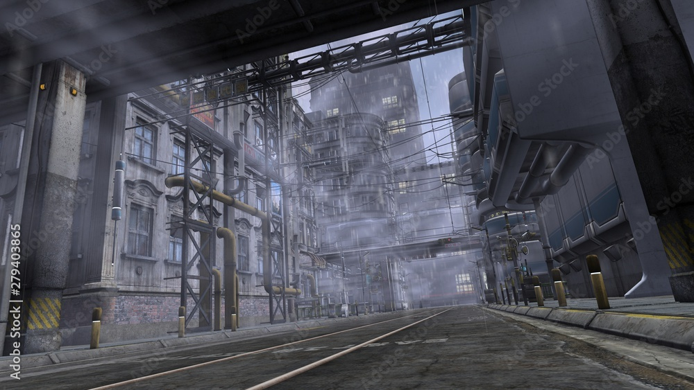 Fototapeta 3D illustration of a street in the industrial area. Futuristic cityscape in cyberpunk style.
