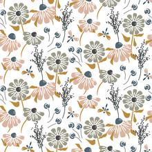 Rustic Flowers Vintage Pastel Colors Seamless Vector Pattern.
