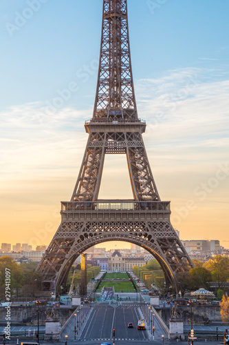 Acrylic Prints Red, black, white A view of the Eiffel Tower from Palais de Chaillot, Paris, France