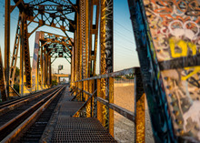 Golden Hour Old Rusted Bridge At The LA River In Southgate Los Angeles