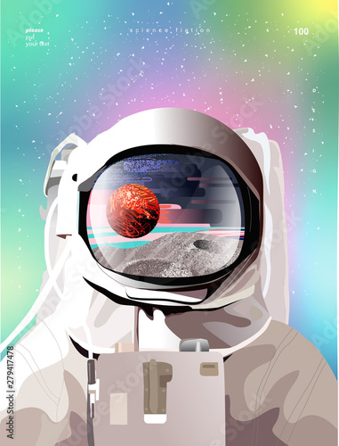 Cuadros en Lienzo Vector illustration of a portrait of an astronaut in a spacesuit in space with p
