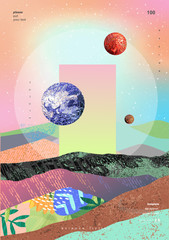 Fototapeta Abstrakcja Vector abstract gradient illustration, background for the cover of magazines about dreams, future, design and space, fancy, crazy poster