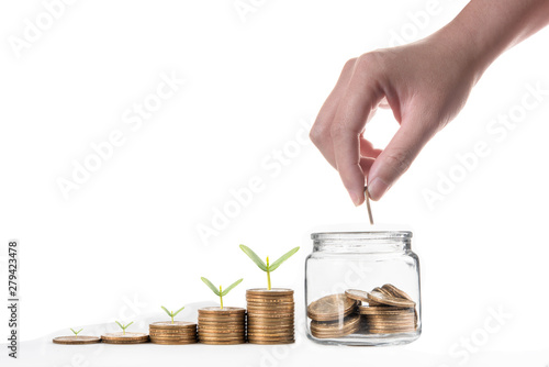 Cuadros en Lienzo  Hand putting coin and coins with seed in clear bottle on white background,Busine