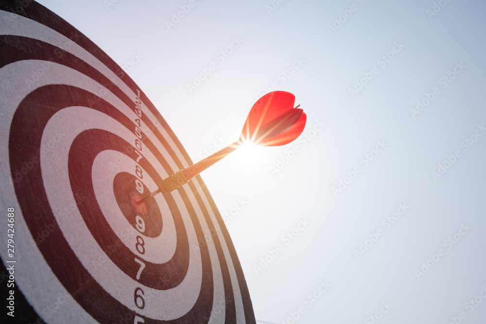 Fototapety, obrazy: Bullseye is a target of business. Dart is an opportunity and Dartboard is the target and goal. So both of that represent a challenge in business marketing as concept.