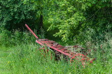 Old Wooden Wagon In Grass