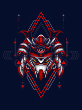 Head Robot Mecha Head Samurai Logo Illustration With Sacred Geometry Pattern As Teh Background