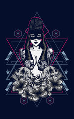 tattoo women logo illustrat...