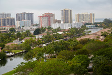 Intracoastal Waterway And The Atlantic Ocean From High Angle In Aventura Florida