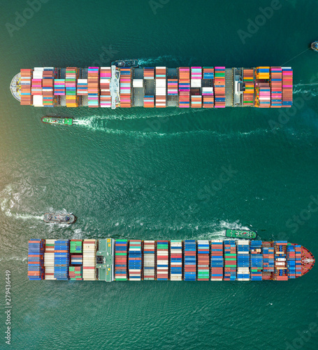 Fototapeta aerial view of the large containers ships sailing cross over each other in the s