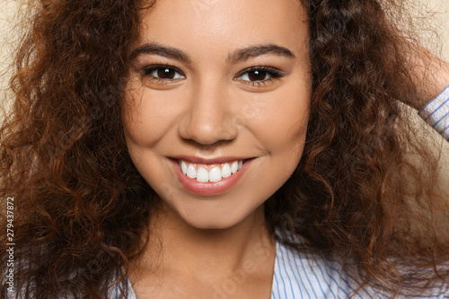 Fototapety, obrazy: Portrait of young African-American woman with beautiful face, closeup