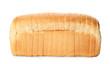 Leinwandbild Motiv Sliced loaf of wheat bread isolated on white