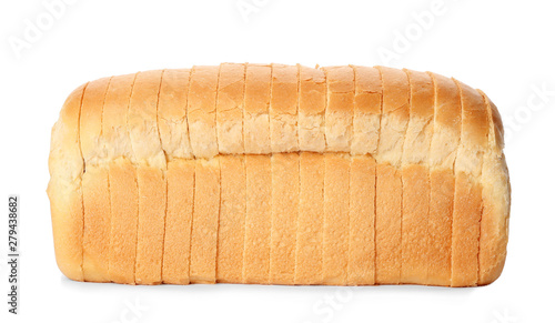 Fotografija Sliced loaf of wheat bread isolated on white