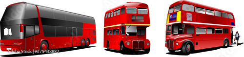 Fotografie, Tablou  Two generations of London double Decker  red bus