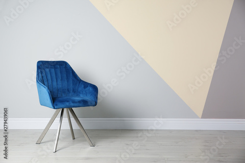 Fotografia, Obraz  Blue modern chair for interior design on wooden floor at color wall