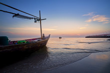 Morning Seascape Skyline With Fisherman Ship In Country Of Southern Thailand