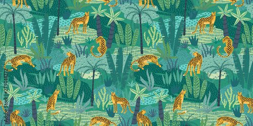 plakat Vestor seamless pattern with leopards and tropical leaves.