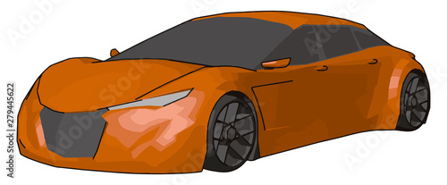 Платно Orange lamborghini gallardo, illustration, vector on white background
