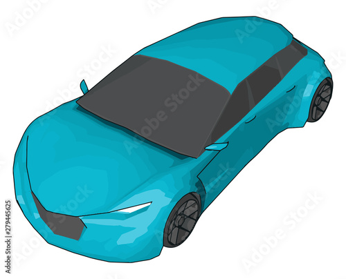 Obraz na plátně  Light blue lamborghini gallardo, illustration, vector on white background