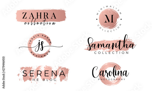 Fotomural Feminine logo set in gold rose - Vector